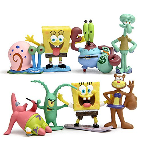 CAKJCAR 8 piezas lindo Bob Esponja de dibujos animados muñecas juguetes día festivo regalo de Navidad