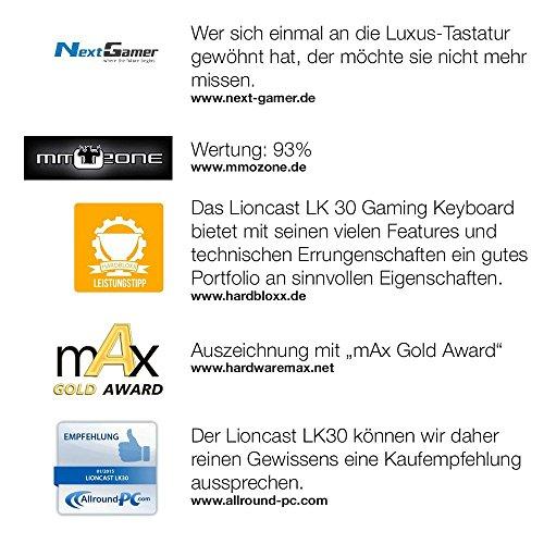 Lioncast LK30 mechanische Gaming Tastatur – Cherry MX Blue (weiße Beleuchtung, USB, QWERTZ, Makro Tasten) - 8