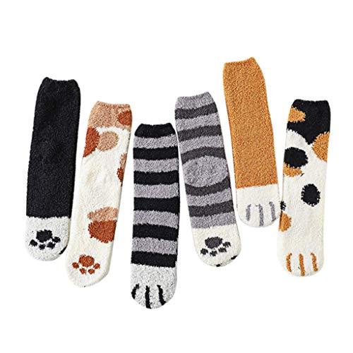 bossMA Winter-Katze kratzt nette starke warme Schlaf-Boden-Socken, weibliche Schlauchsocken der Plüschkorallenvlies-Socken (6 Paarfarben) -