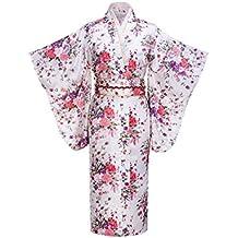 Kimono tradicional de geisha japonés de satén con impresión floral, disfraz de cosplay, de la marca WitBuy