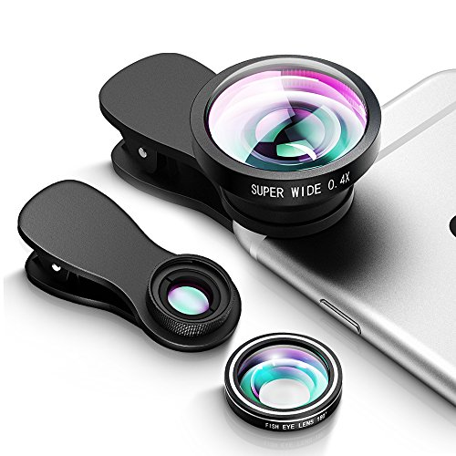 Fisheye Objektiv, 3in1 Clip-On Kamera Objektiv Kits(Fischauge Objektiv&0.4X Weitwinkelobjektiv&10X Makro lens&2 abnehmbare Clips), Handy Objektiv, Handy Linsen Set für iPhone 7 6 6S 6S Plus Samsung HTC Huawei & die meisten Single camera Smartphone