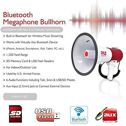 NEW 2015 !!!! MEGAFONO PROFESSIONALE PYLE PMP52BT BIANCO E ROSSO DA 50 WATT MAX CON FUNZIONE DI SIRENA AMERICANA UDIBILE FINO A 1100 METRI CON INGRESSO USB SD CARD JACK 3,5 MM AUX E TECNOLOGIA BLUETOOTH INTEGRATA - Megafono Auto