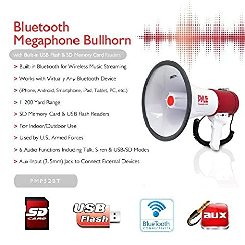 NEW FOR 2015!!!!!!!!!!!! PYLE PROFESSIONAL MEGAPHONE PMP52BT RED AND WHITE 50 WATT MAX WITH AUDIBLE ALARM FUNCTION AMERICAN UP TO 1100 M JACK 3.5 MM USB SD CARD AND BLUETOOTH BUILT-IN