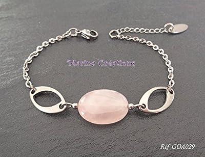 Bracelet gourmette acier inoxydable quartz rose véritable, bijou fin, discret, longueur au choix, idée cadeau