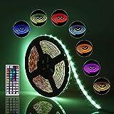Sominue LED Stripes SMD 5050, 5M, 300Leds, RGB, 30leds / m, mit DC12V-UL-Netzteil und 44 Key Ir-Controllern für TV, Schlafzimmer, Küchenzeile, Beleuchtung unter dem Bett