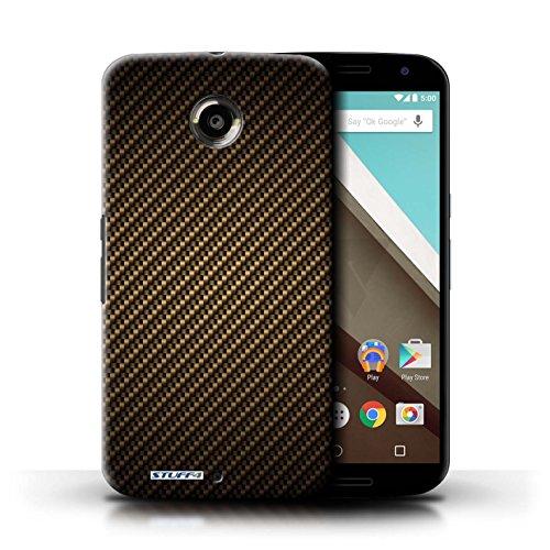 Kobalt® Imprimé Etui / Coque pour Motorola Nexus 6 / Vert conception / Série Motif de Fibre de Carbone Or