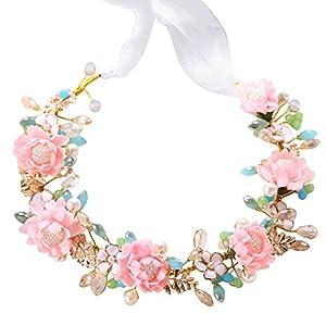 Tukistore Bridal Flowers Kranz Kopfschmuck Frauen Hochzeit Crystal Pearl Blumen Stirnband Garland Crown Headwear Tiara Kopfschmuck Haarschmuck mit Ribbon + Ohrringe Set