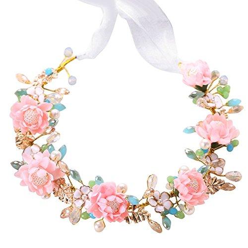 Corona con flores y perlas para boda + pendientes conjunto