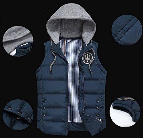 Panegy – Fashion Doudoune Gilet épais Pour Homme Veste de sport sans Manches en Hiver à capuche amovible – Taille L-3XL – Bleu saphir/Kaki Bleu Saphir