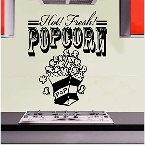 wassaw Popcorn DIY Wandaufkleber Für Küche Abnehmbare Wasserdichte Lebensmittel Wandkunst Aufkleber Dekoration Zubehör Für Snack Bar 59 cm X 70 cm Schwarz
