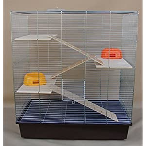 Chinchilla, Degu Ratten-Käfig 70x40x80cm Komplettset 3 Etagenkäfig braun
