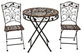 aubaho Gartentisch und 2 Stühle Eisen Schmiedeeisen antik Stil Gartenmöbel braun Stein