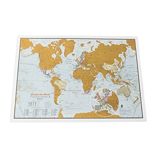 Scratch the World® travel edition map print - a3 travel sized 42.0 (w) x 29.7 (h) cm par Lovell Johns