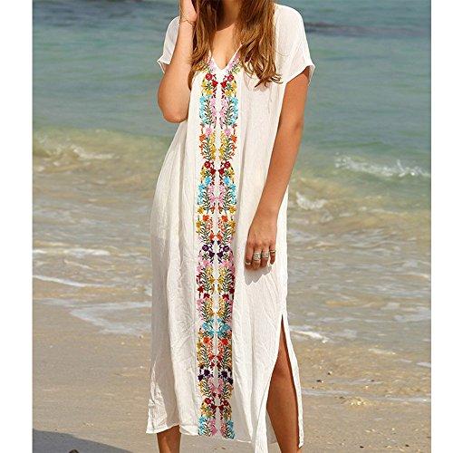 Damen Strandkleid lang v-Ausschnitt One Size Bikini Handstickerei Kittel Ufly Weiß