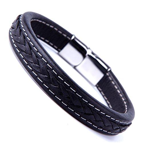 Elegante Negro Puño Pulsera de piel auténtica para hombres con elegante cierre de acero inoxidable 316L