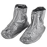 DealMux Mann PVC-Flasche Wasserdicht Trocknen Schuh-Abdeckungen Überschuhe Silber-Ton-Paar XXXL