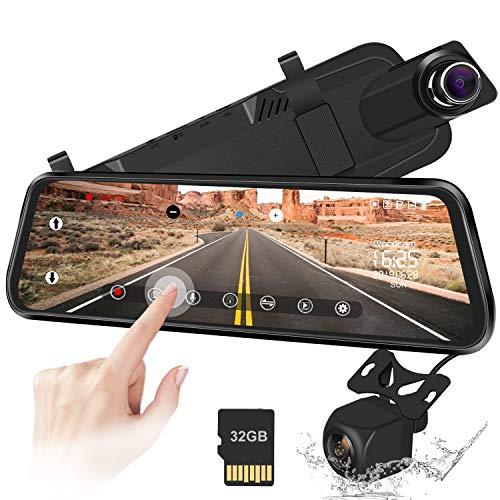 "10 ""Mirror Dash CAM Touchscreen-Rückfahrkamera 170 ° 1080P Front- und 150 ° 1080P Rückfahrkamera Doppelobjektiv Nachtsicht-Parkmonitor + 32 GB SD-Karte"