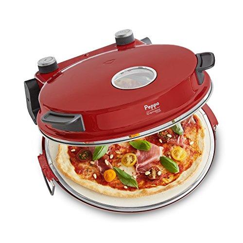 Pizzaofen Peppo von Springlane Kitchen Pizzamaker für Pizza & Brot wie aus dem Steinofen bis zu 350°C mit Timer & Signallampe, 3 Garstufen, 1200 Watt inkl. Emaille-Bratpfanne & 2 großen Pizzawendern