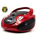Lauson CP639 Lettore Cd Portatile Bluetooth | USB | Bambini Radio | Stereo Radio FM | Boombox | CD/MP3 Player | LCD-Display (Rosso)