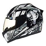 JIE KE Voller Gesichts-Motorrad-Sturzhelm, voller Abdeckungs-Rennhelm für Erwachsene Männer-Frauen mit abnehmbarem Futter (Farbe : A, größe : M)