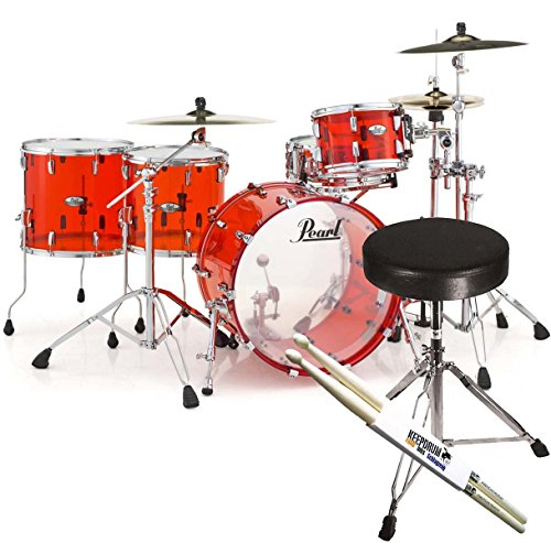 PEARL CRB524P C731 Crystal Beat Acrylic Drum Set Shell Pack Ruby Red + Keepdrum Stool + 1 Pair Drum Sticks