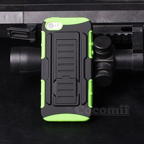 iPhone 5 / 5S / SE Funda, Cocomii Robot Armor NEW [Heavy Duty] Premium Belt Clip Holster Kickstand Shockproof Hard Bumper Shell [Military Defender] Full Body Dual Layer Rugged Cover Case Carcasa Apple (Green)