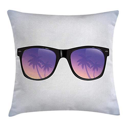 Hectwya Sommer Throw Pillow Cover Sonnenbrillen mit Palm Tree Reflections exotische Reise Rest Urlaub Thema