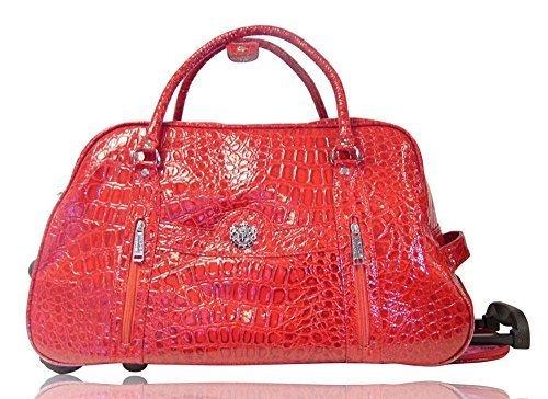 Damen Lackleder Leder Mock Croc Print Reisetasche Über Nacht LYDC Tasche rot L rot