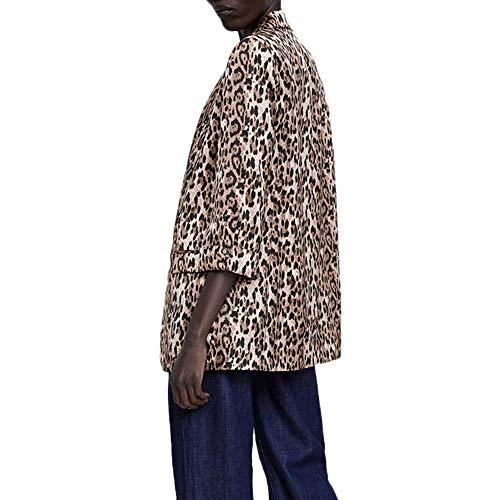 Sunnyuk Damen Leopard mäntel mit Wasserfall Schalkragen Lange Camouflage Parkas für Frauen große-größen weit Trenchcoat fit guenstig Fasching Klassische Vogue frühling Herbst