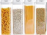 NUMYTON Contenitori Alimentari, Set di 4 Plastica Contenitori per la Conservazione degli Alimenti con Coperchi per la Conservazione Ideale per Zucchero, tè, caffè, Riso, Pasta con Airtight Coperchi