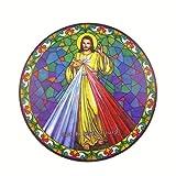Divine Mercy Gesù suncatcher vetrata bicchiere finestrino adesivo riutilizzabile 6 pollici sole acchiappasogni