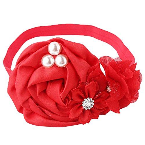 Exquisite floral baby headband Newborn black headband hair accessories Rose Red