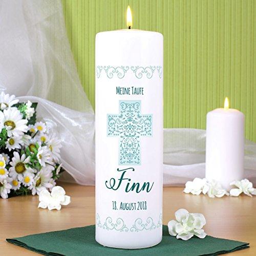 Striefchen® Kerze zur Taufe/Kommunion/Konfirmation/Firmung mit Namen und Datum für Jungen - 3