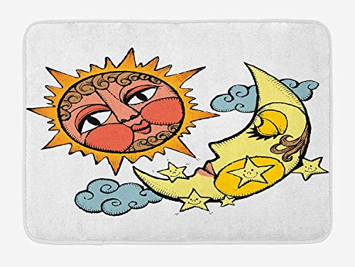 Sun and Moon Bath Mat, Carnivalesque Drawing of Colorful Sun and Moon Artistic Swirls Clouds Magical, Plush Bathroom Decor Mat with Non Slip Backing, 23.6 W X 15.7 W Inches, Multicolor -