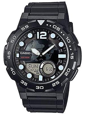 Casio Collection – Reloj Hombre Analógico/Digital con Correa de Resina – AEQ-100W