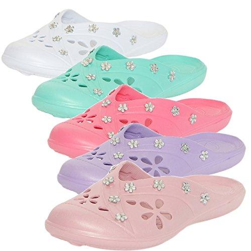 CLEOSTYLE angesagte Damen Badeslipper Pantoletten Clogs mit modischen Schmucksteinen aus der aktuellen Kollektion 2017 CL 78 Pink
