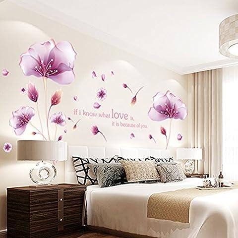 Salone minimalista moderno TV sfondo muro Adesivi Camera da letto romantica parete murale decorativo fiori viola,Elegante viola,Grande