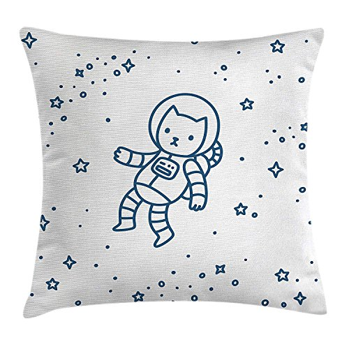 tgyew Kids Throw Pillow Cushion Cover, Cute Cartoon Astronaut Pioneer Cat Flying in Outer Space Doodle Style Constellation, Decorative Square Accent Pillow Case, 18 X 18 Inches, Dark Blue Set of 2