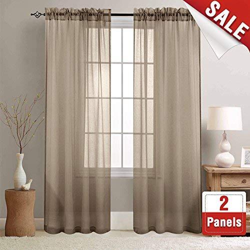 jinchan Leinenoptik Rod Pocket Sheer Voile Fenster Vorhang Panel/Drapes für Schlafzimmer/Wohnzimmer £ ¬ Set von zwei, Polyester, braun, 55