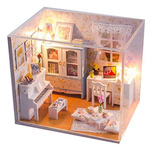 1:24 Puppenhaus Miniatur mit Möbeln Puppen Haus Handwerk Spielzeug Kaffeehaus Schlafzimmer Dollhaus - Klavier Zimmer