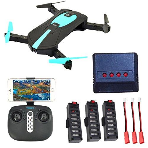 Selfie Drohne mit Kamera 2MP HD WiFi FPV Quadrocopter Drohne, Klappbarem Arm RC Quadcopter RTF , Fernbedienung & APP Control Kopfloser Modus Höhenhaltungsmodus, 3 Akkus + 1 to 6 Battery Charger