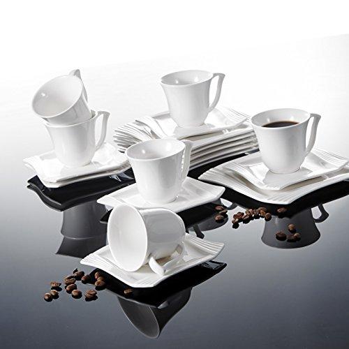MALACASA, Serie Amparo, 18 teilig Set Porzellan Kaffeeservice Dessertteller Kaffeetasse mit Untertasse für 6 Personen Dinner-service-set