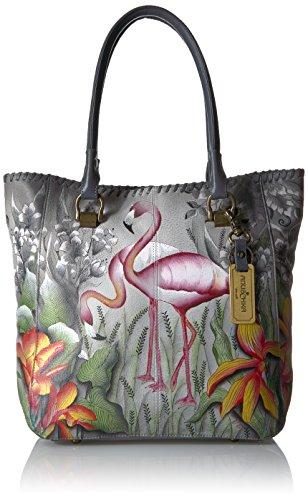 Anuschka handbemalte Ledertasche, Schultertasche für Damen, Geschenk für Frauen, Handgefertigte Tasche mit Fach-Large Shopper (Flamboyant Flamingos 609 FFG)