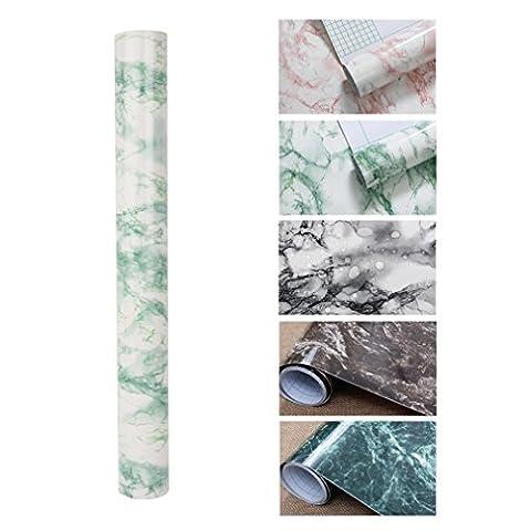 KINLO 0.61 x 5 M PVC Blanc Papier peint DIY Armoires de Cuisine Autocollantes Blanc / Vert Stickers Feuille de Cuisine Imperméable à l