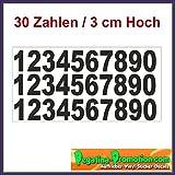 Set 30 Selbstklebende Zahlen /schwarz/ 3 cm hoch/ - Kleben statt Bohren, Aufkleber für den Aussenbereich, Ziffer, Zahlen Zahlen Vinyl Mülltonne Boot Ziffer Sticker Nummer Aufkleber - Modellbau Hausnummernleuchte