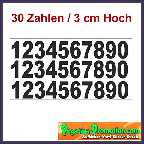 Set 30 Selbstklebende Zahlen /schwarz/ 3 cm hoch/ - Kleben statt Bohren, Aufkleber für den Aussenbereich, Ziffer, Zahlen Zahlen Vinyl Mülltonne Boot Ziffer Sticker Nummer Aufkleber - Modellbau Hausnummernleuchte (Straße Scrapbooking)
