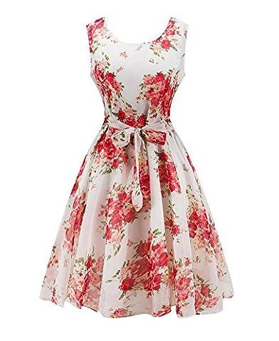 Minetom Damen Sommer Vintage 50s Schwingen Retro Rockabilly Kleid Blumen