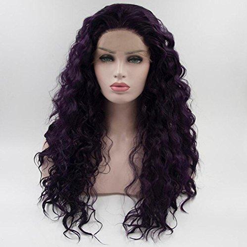 OOARGE Mode lila Perücke African American Afro Short Kinky Gelockt Synthetische Faser Haarverlängerung (lang) , purple , 20in