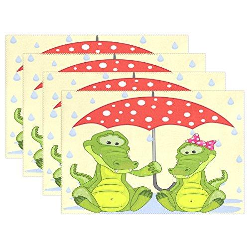LIANCHENYI Krokodil Couple Holding Regenschirm hitzebeständig Platzsets, Polyester Platzset Tischset für Küche Esszimmer 1Stück, Polyester, Multi, 12x18x1 in -