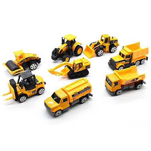 Juego de juguete excavadora (5 piezas) Juguete de inercia, excavadora excavadora, excavadora, carro de tracción, camión de construcción de juegos de imaginación, juguetes de automóvil para regalo de cumpleaños para niños